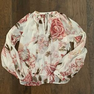 Lucky Brand Paisley Pink Cream Flowy Blouse